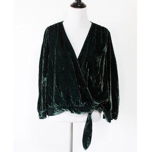 Madewell Green Velvet Wrap Top XL
